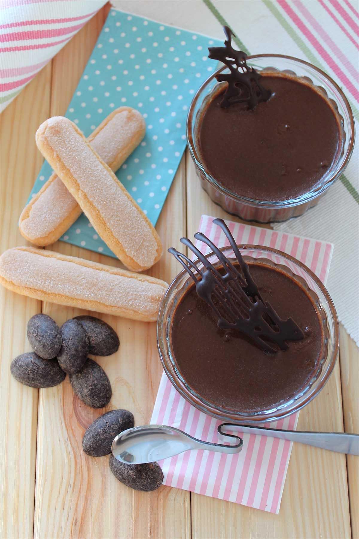 Natillas de chocolate light sin leche y sin azúcar